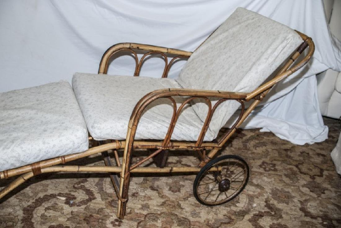 Bamboo Chaise Lounge Chair W/ Cushions On Wheels - 5