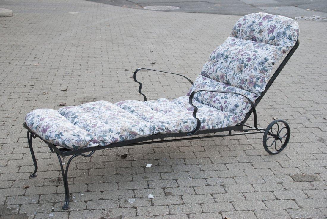Black Steel Chaise Lounge Chair W/ Cushions