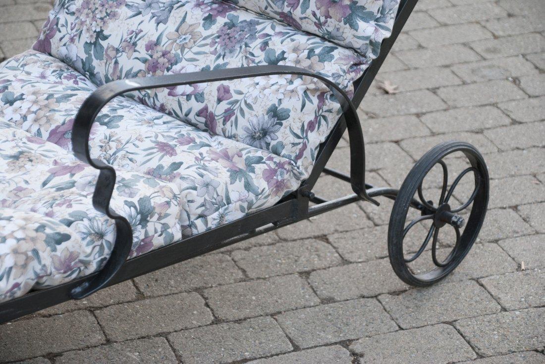 Black Steel Chaise Lounge Chair W/ Cushions - 3