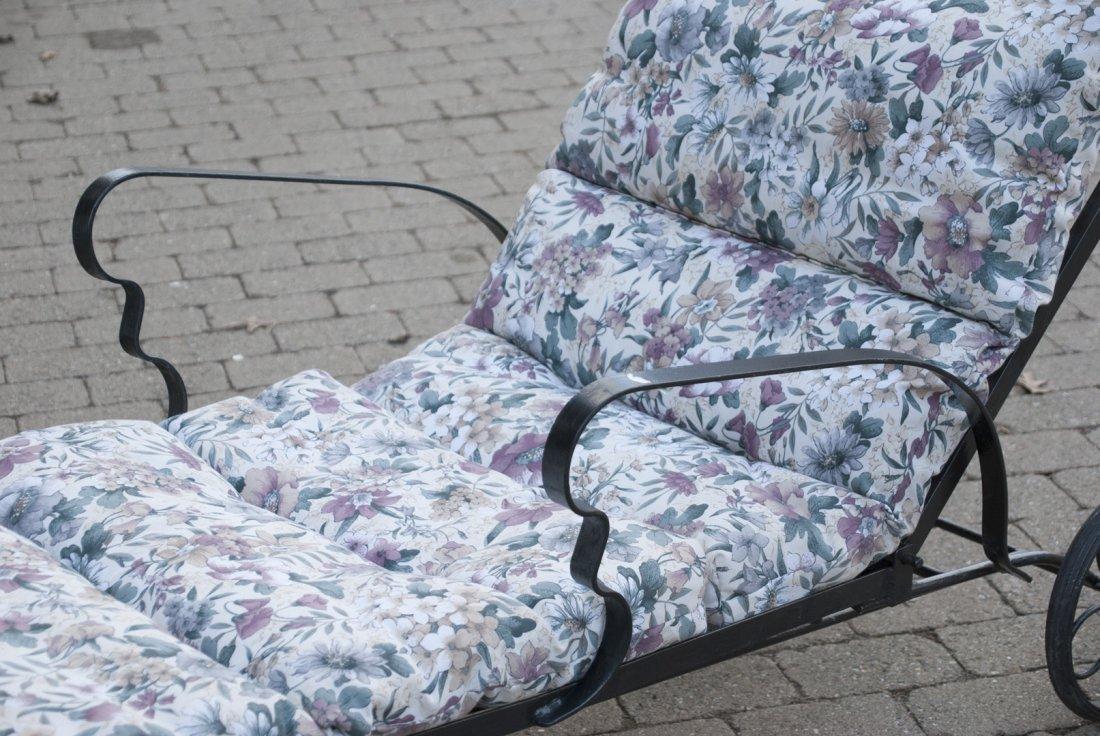 Black Steel Chaise Lounge Chair W/ Cushions - 5