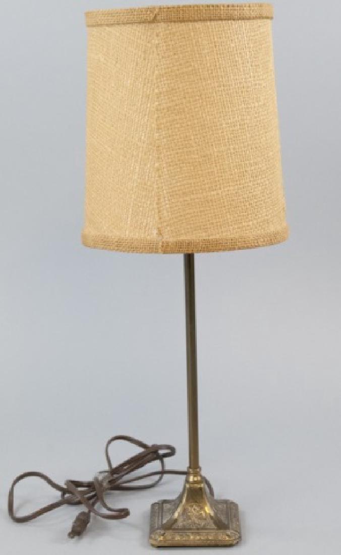 Small Vintage Bronze Lamp W/ Ornate Design