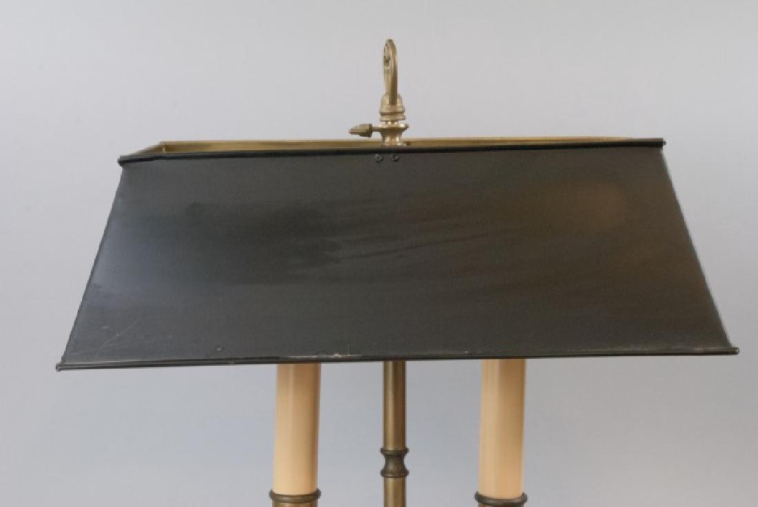 Vintage Bronze Table Lamp W/ Black Tin Lamp Shade - 4