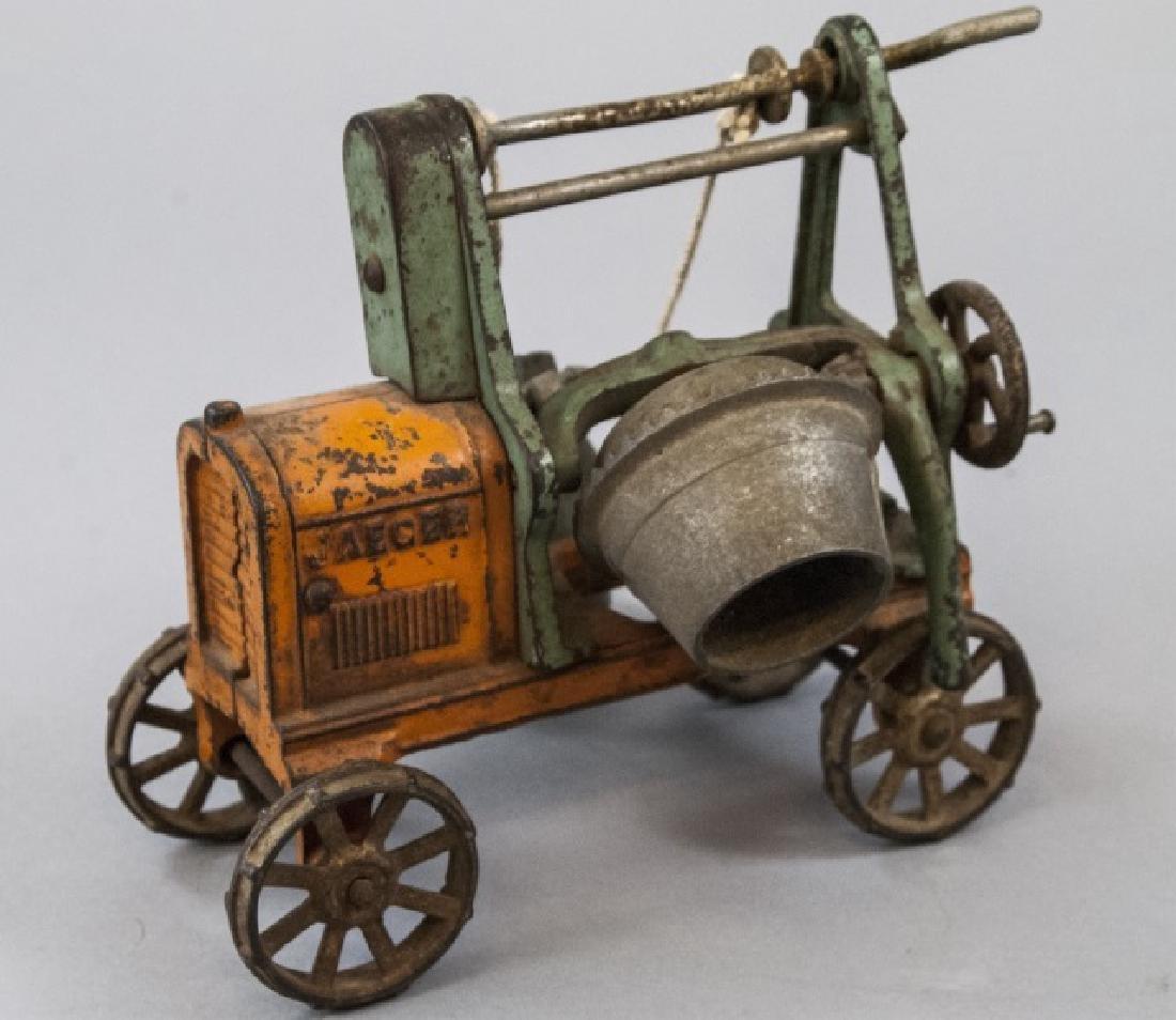 Antique Cast Iron Cement Mixer Toy Jaeger Truck