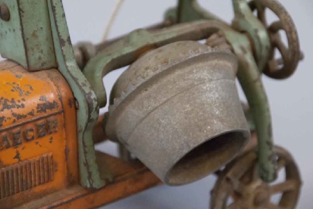 Antique Cast Iron Cement Mixer Toy Jaeger Truck - 4
