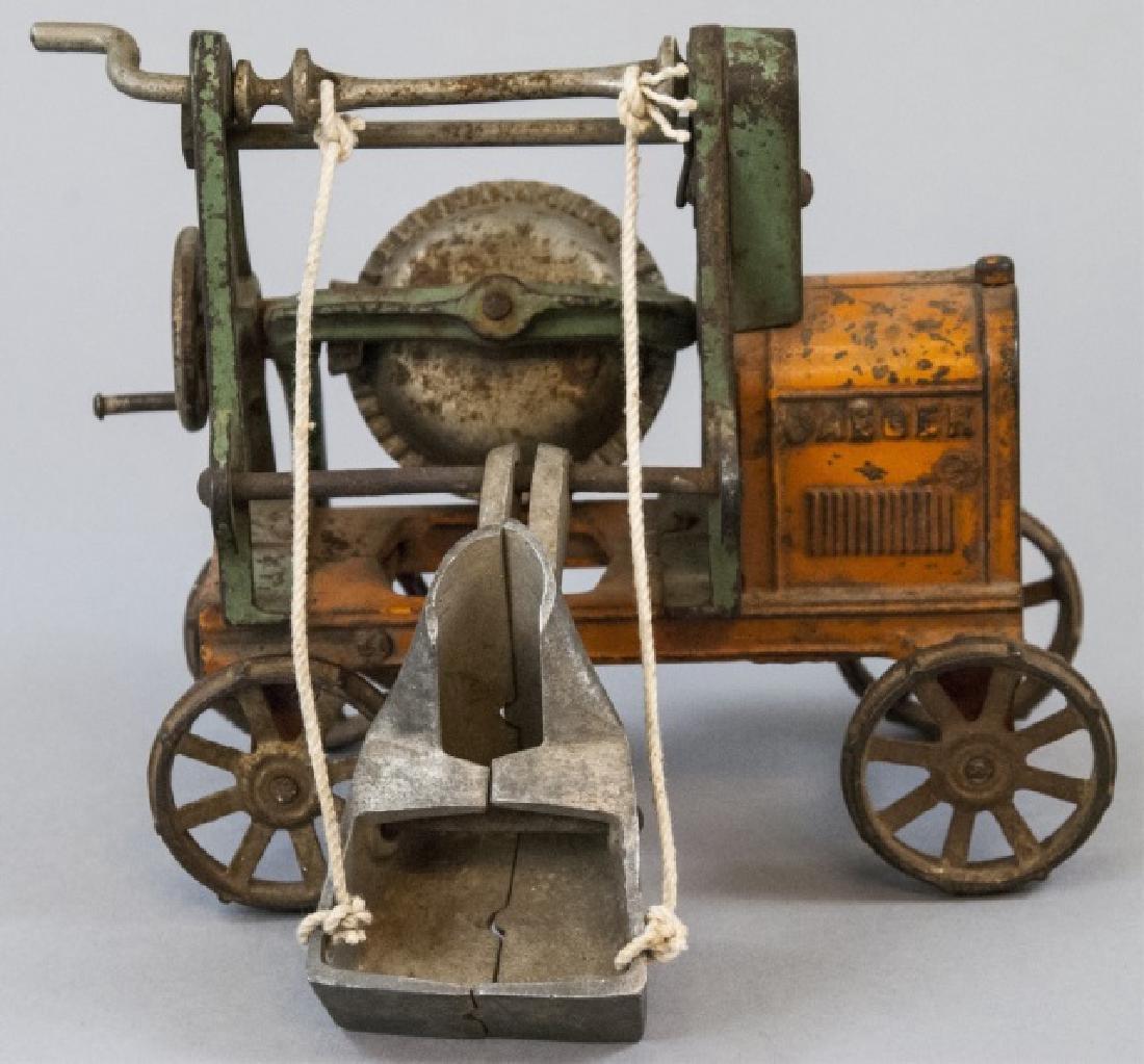 Antique Cast Iron Cement Mixer Toy Jaeger Truck - 7