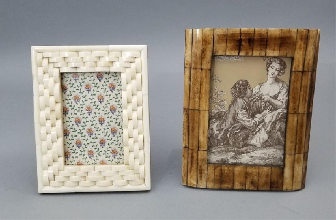 Two Contemporary Carved Inlaid Bone Picture Frames