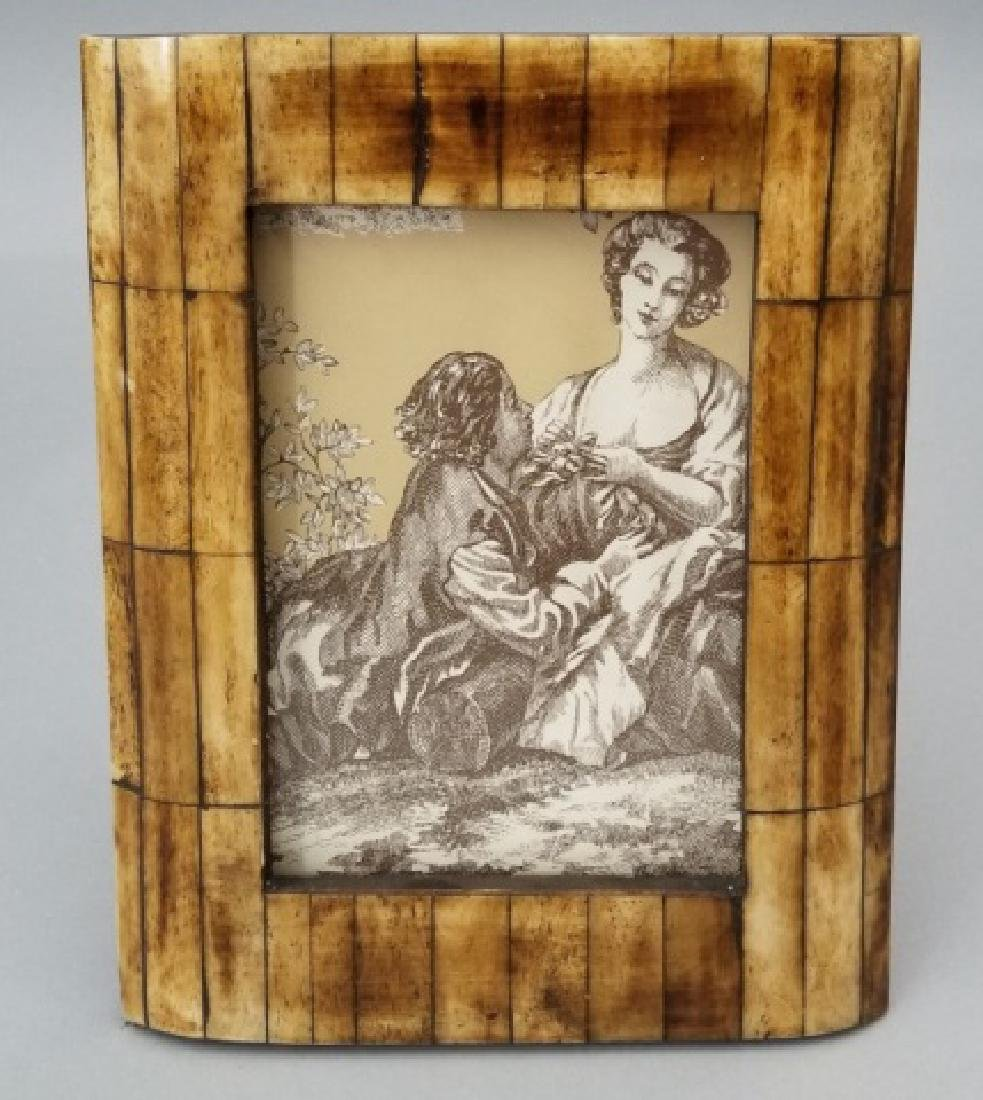 Two Contemporary Carved Inlaid Bone Picture Frames - 2