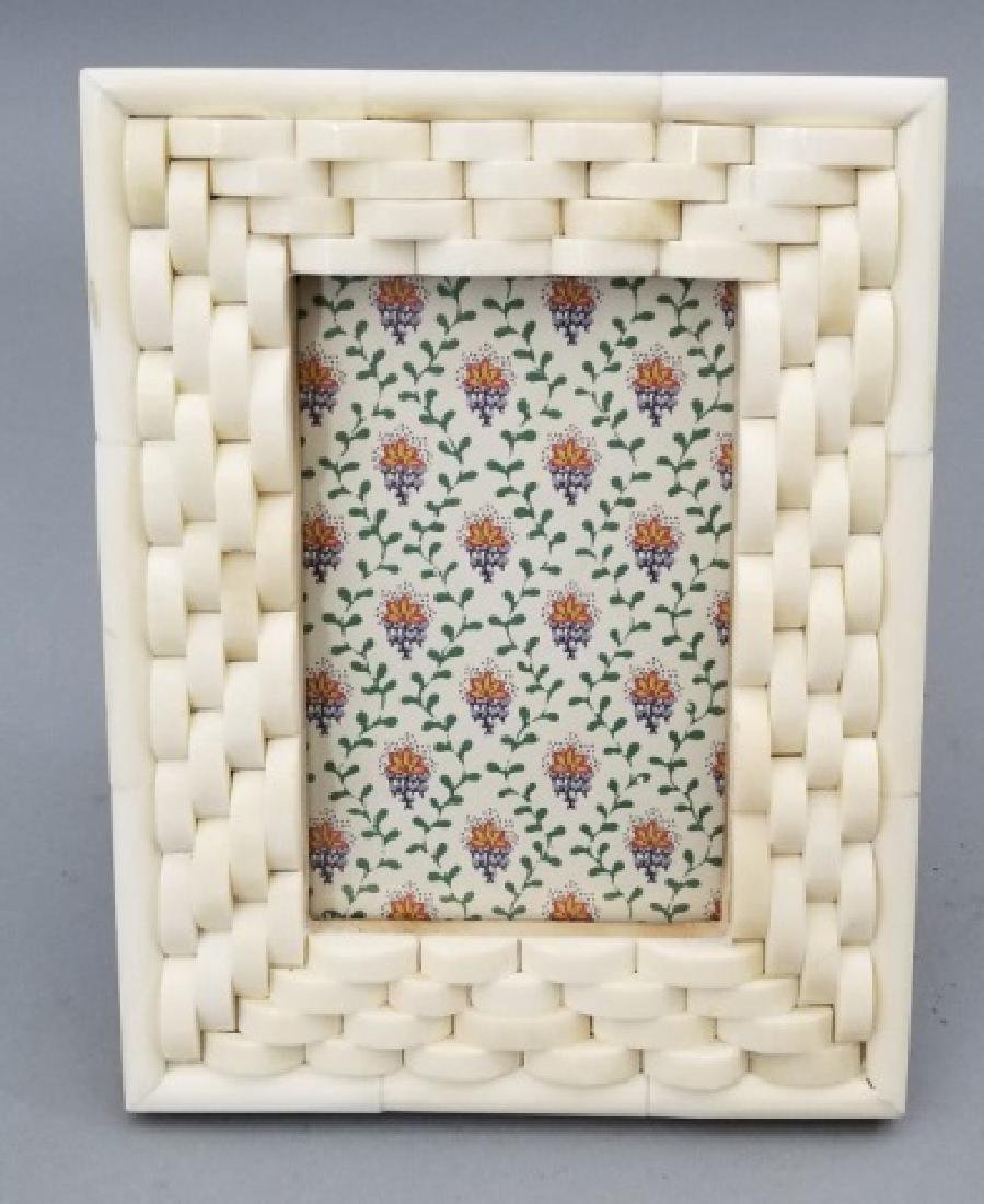 Two Contemporary Carved Inlaid Bone Picture Frames - 5
