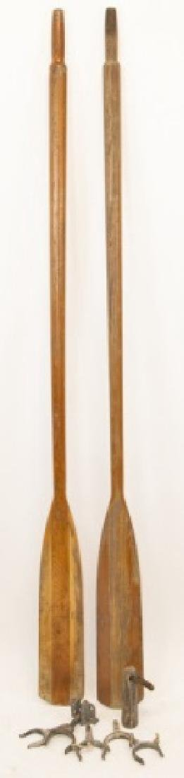 Pair Of Two Vintage Wooden Oars W/ Hardware
