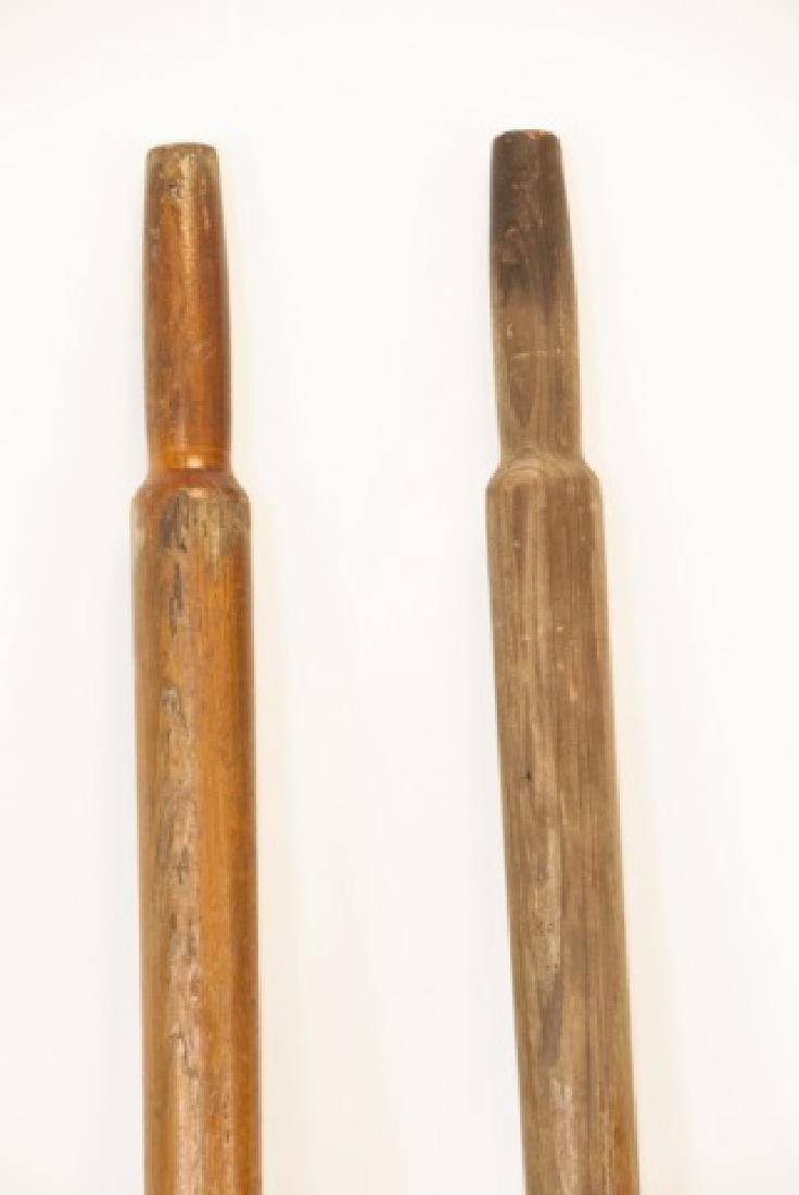 Pair Of Two Vintage Wooden Oars W/ Hardware - 2