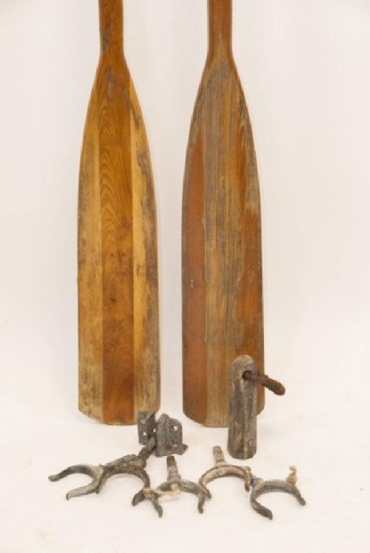 Pair Of Two Vintage Wooden Oars W/ Hardware - 3