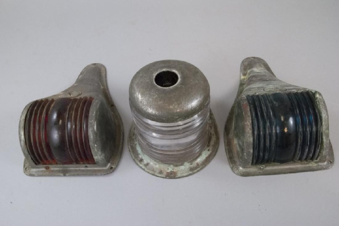 Three Vintage Industrial Perko Marine Boat Lamps