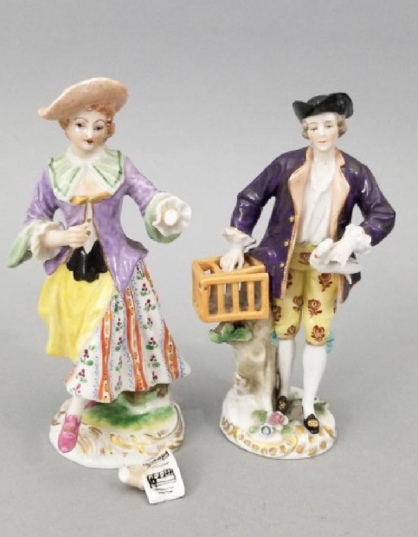 Pair Antique German Frankenthal Porcelain Figurine