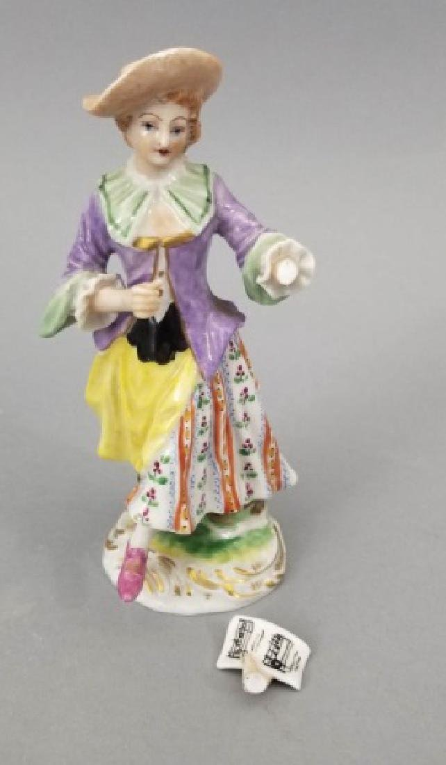 Pair Antique German Frankenthal Porcelain Figurine - 7