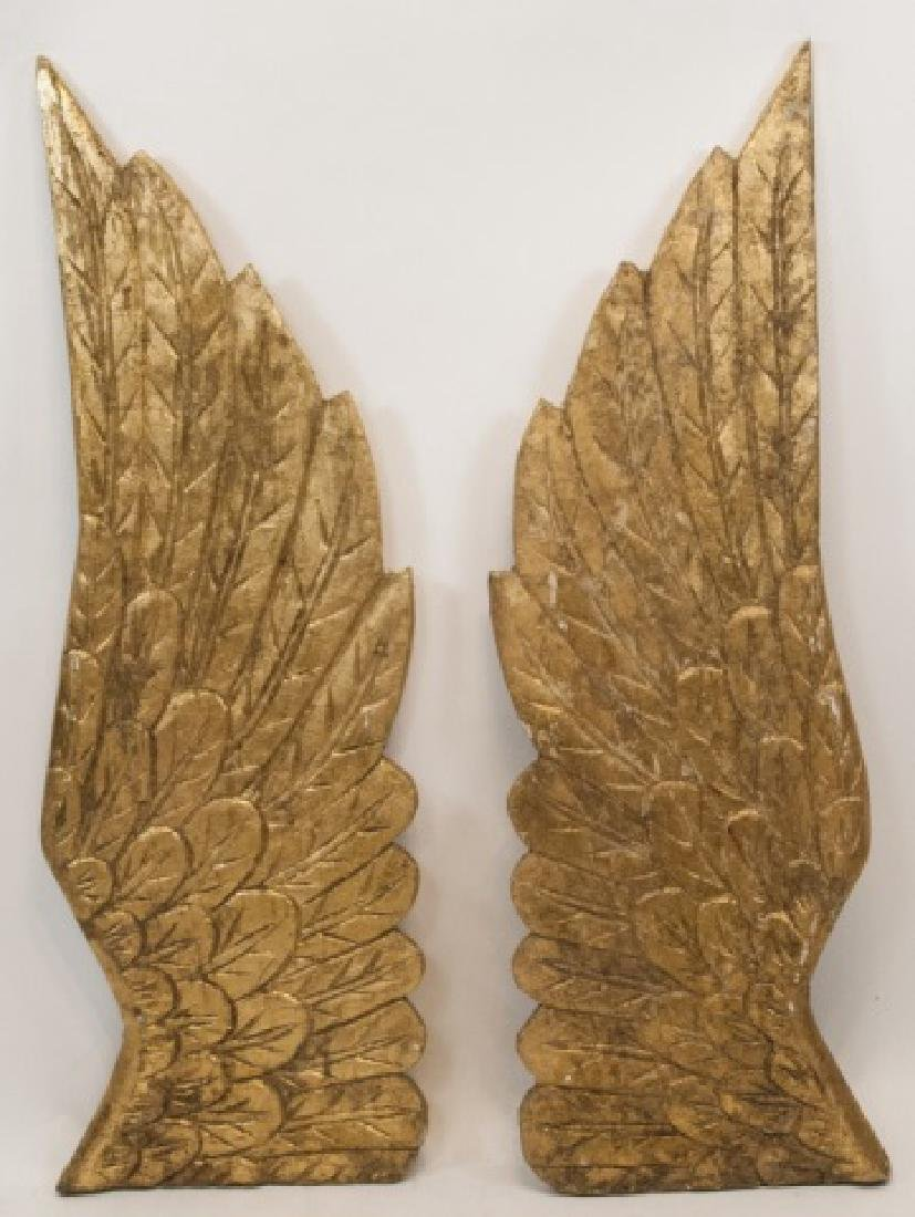 Two Large Wooden Hand Carved Angel Wings