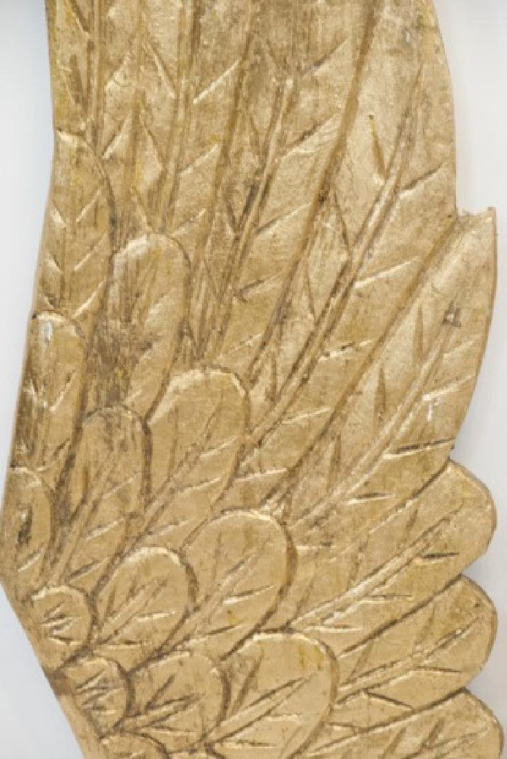 Two Large Wooden Hand Carved Angel Wings - 5