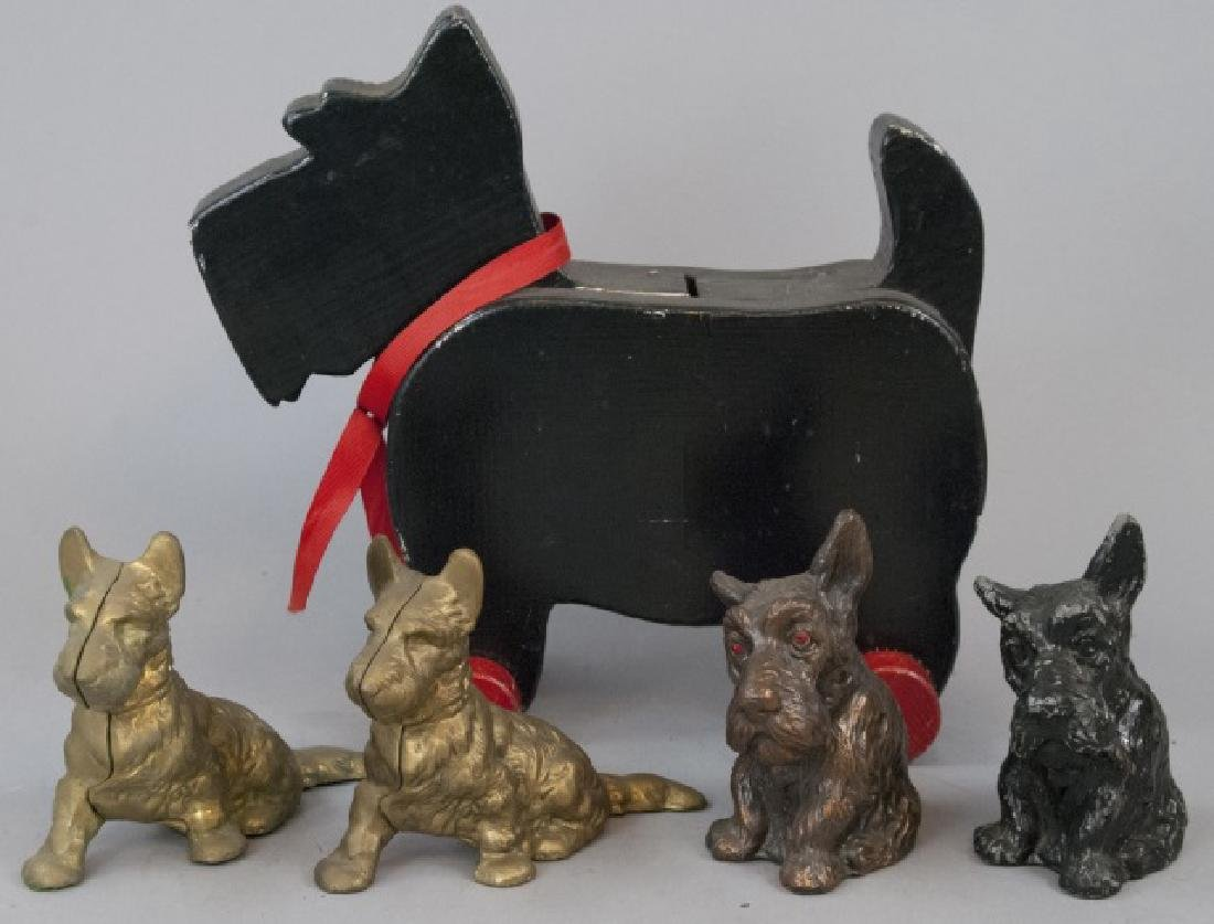 Five Vintage Assorted Scottish Terrier Banks