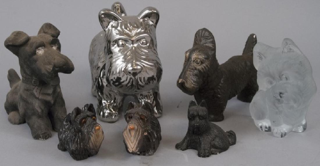 Lot Of Plaster, Ceramic & Glass Scottish Terriers