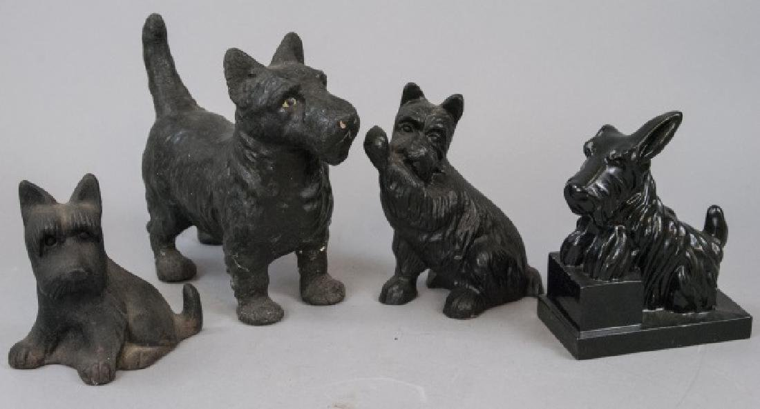 Assorted Lot Of Black Scottish Terrier Statues