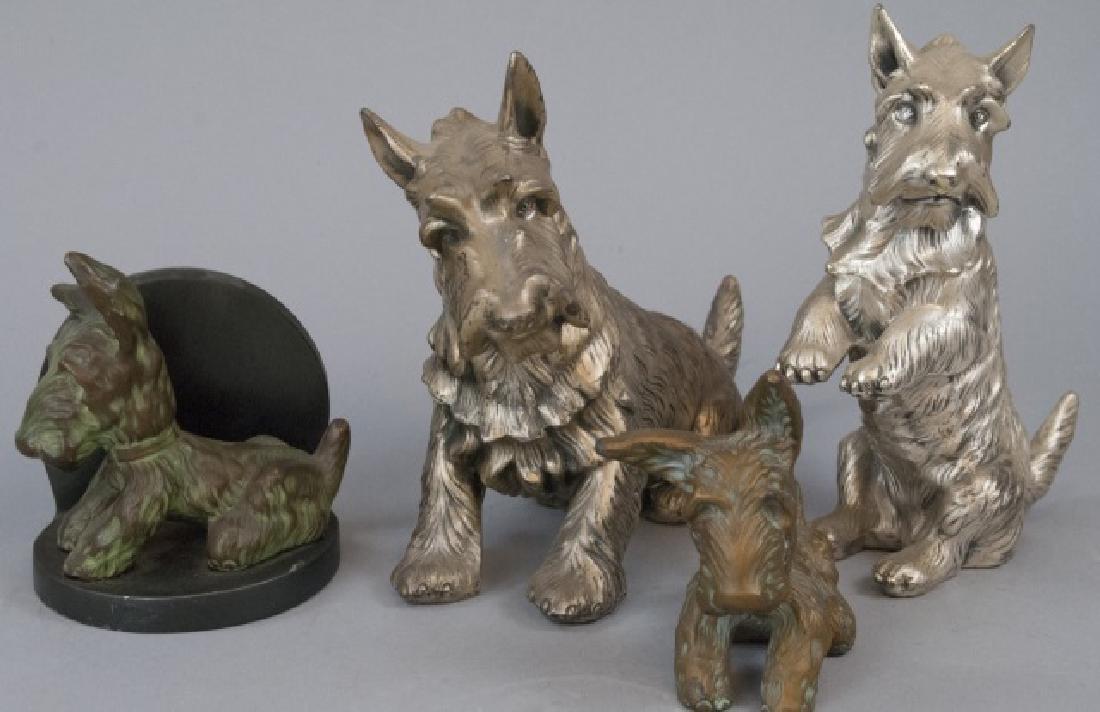 Assorted Lot Of Bronze Scottish Terrier Statues