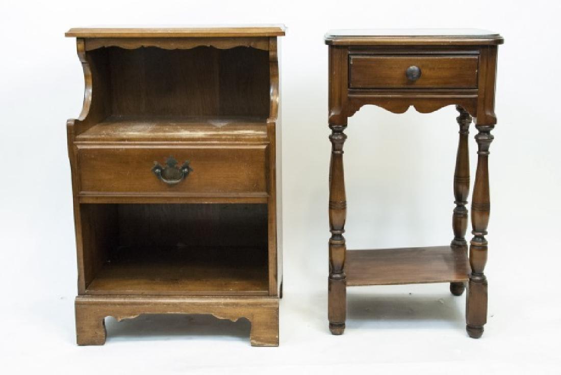 Two Vintage Wooden Nightstands - 3