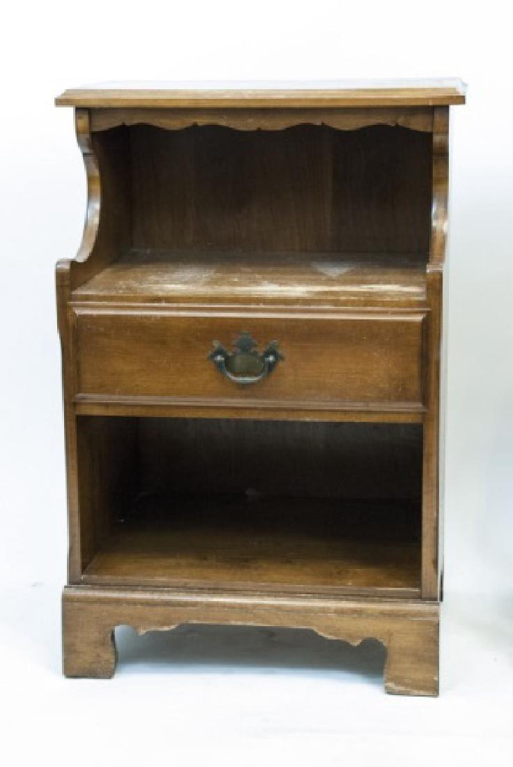 Two Vintage Wooden Nightstands - 4