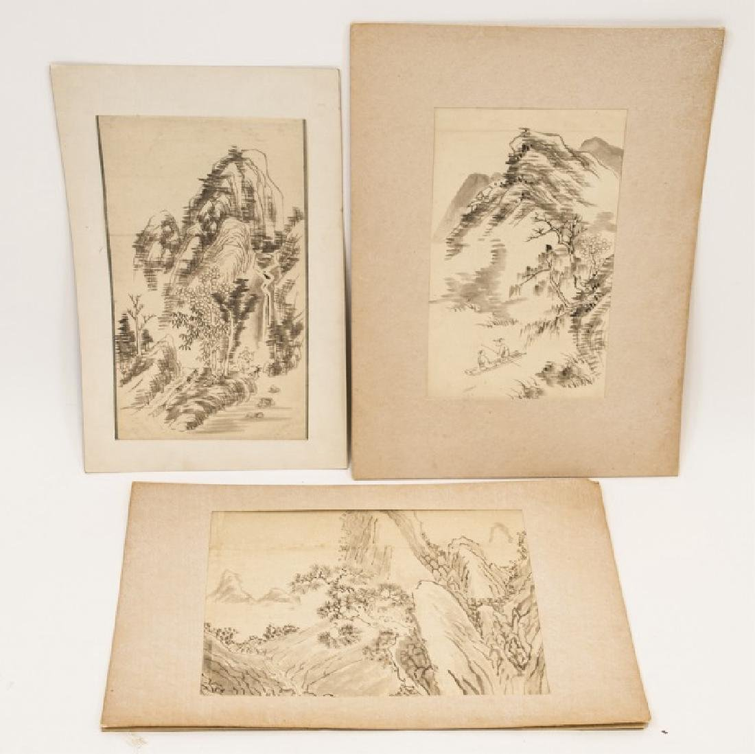 Three Japanese Hand Painted Ink Landscapes