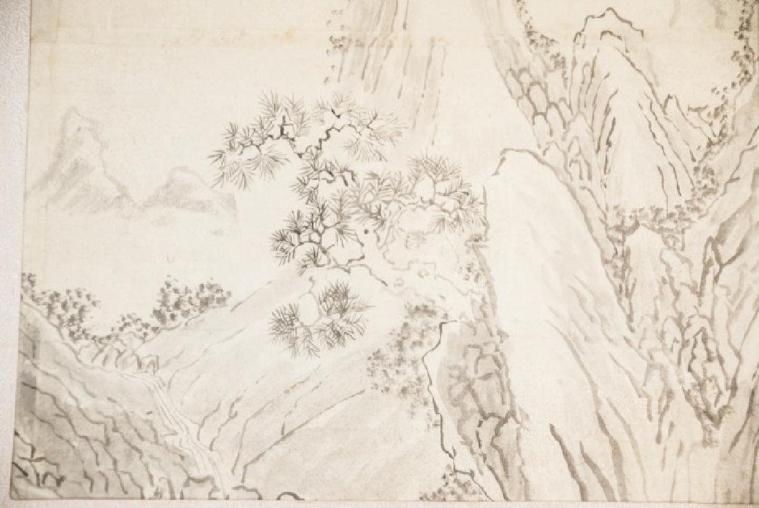 Three Japanese Hand Painted Ink Landscapes - 3