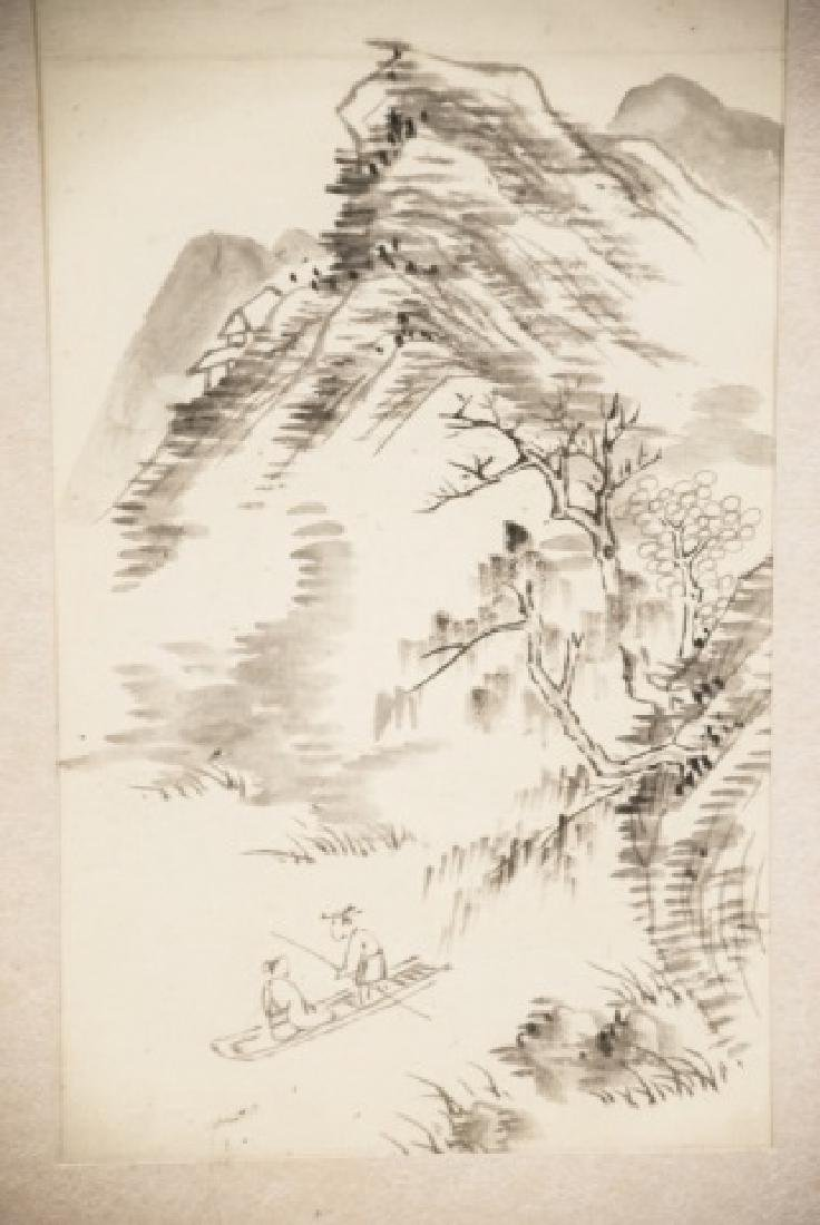 Three Japanese Hand Painted Ink Landscapes - 4