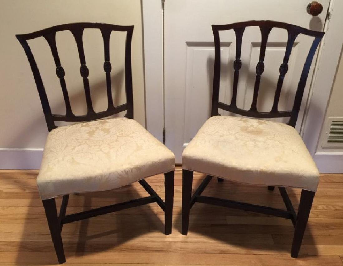 Pair Antique English 19th C Carved Side Chairs
