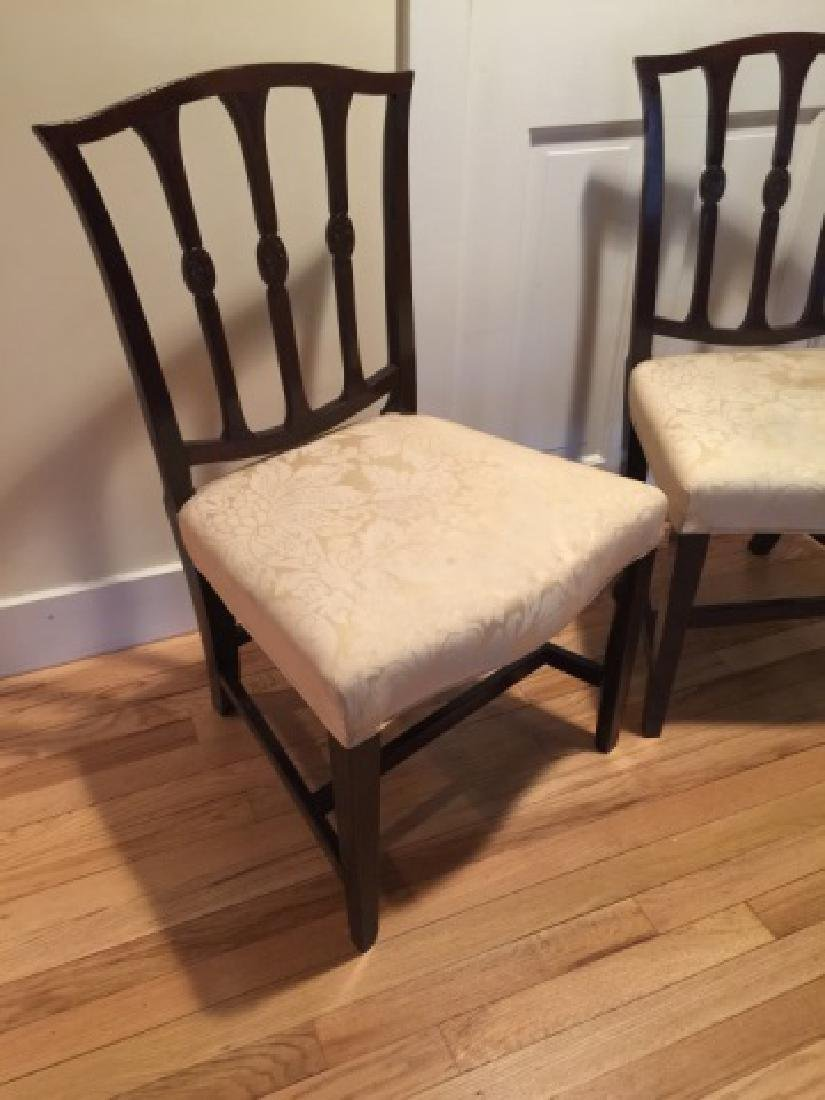 Pair Antique English 19th C Carved Side Chairs - 3
