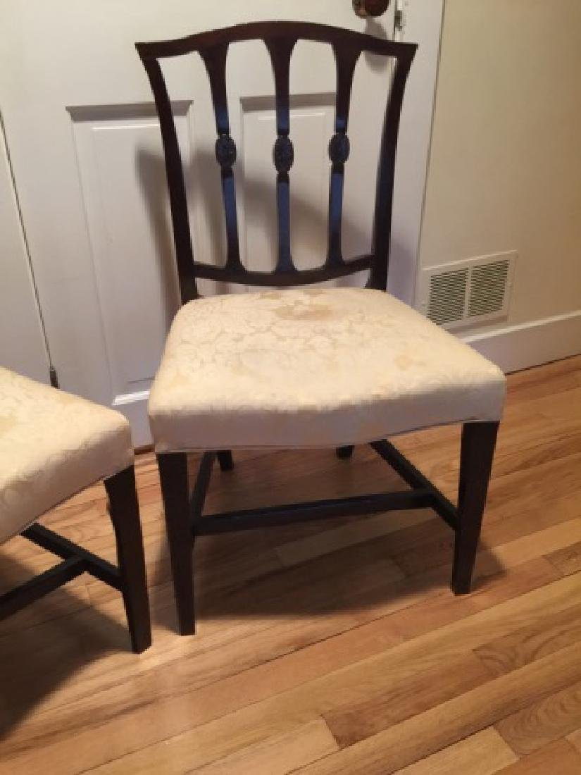 Pair Antique English 19th C Carved Side Chairs - 4