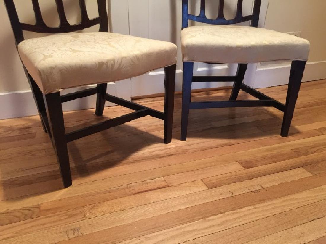 Pair Antique English 19th C Carved Side Chairs - 5