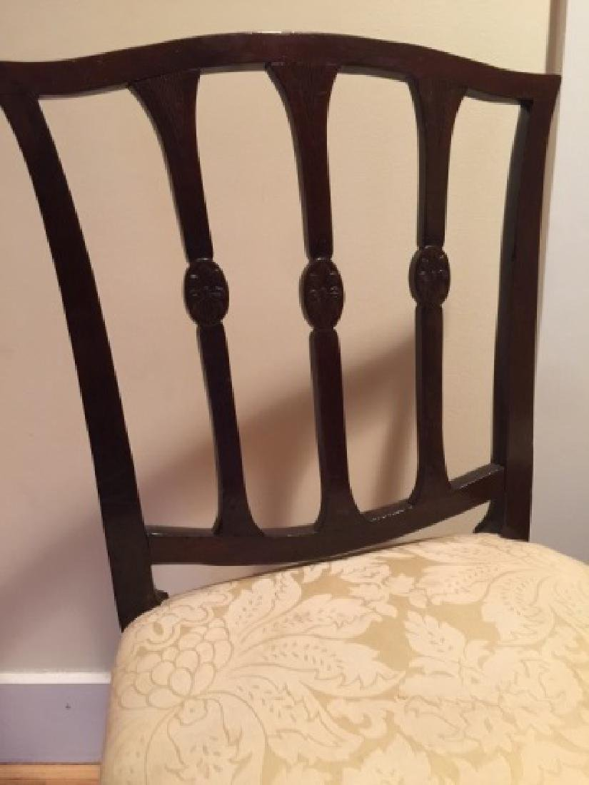 Pair Antique English 19th C Carved Side Chairs - 6