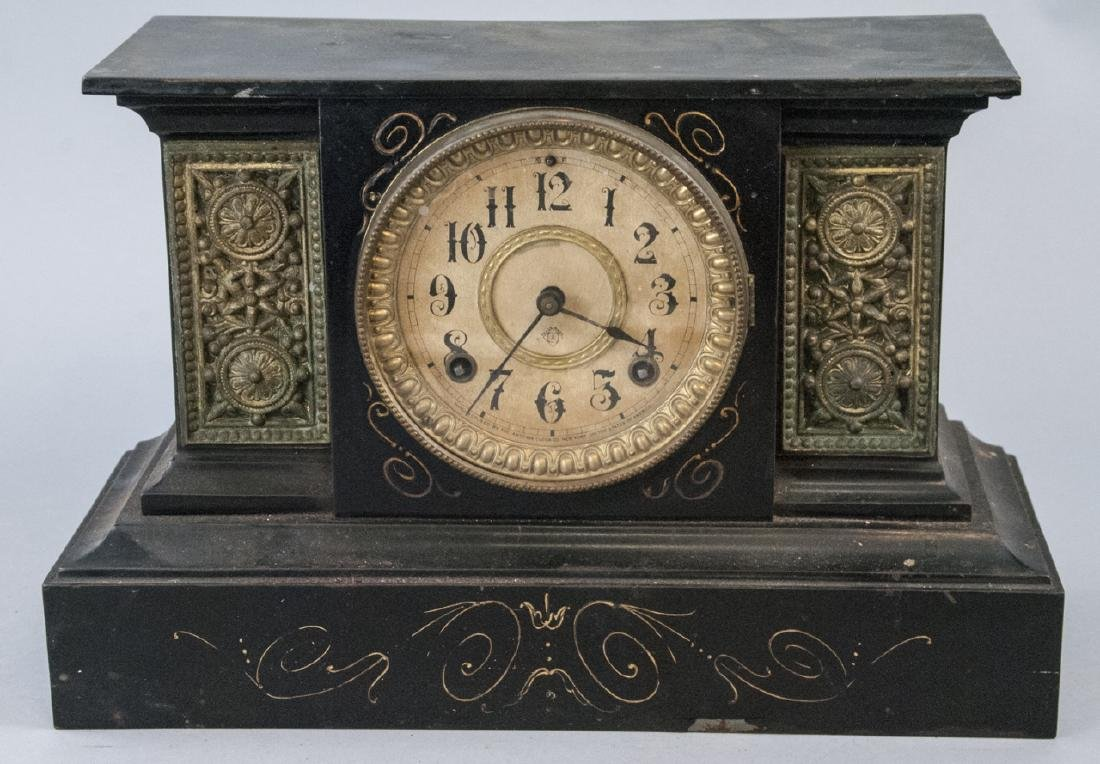 Antique 19th C Ansonia Marble Mantle Clock