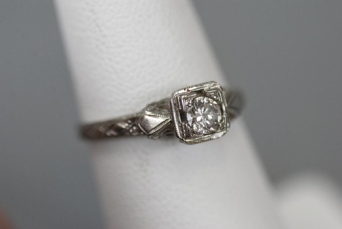 Antique 18kt White Gold & Diamond Engagement Ring
