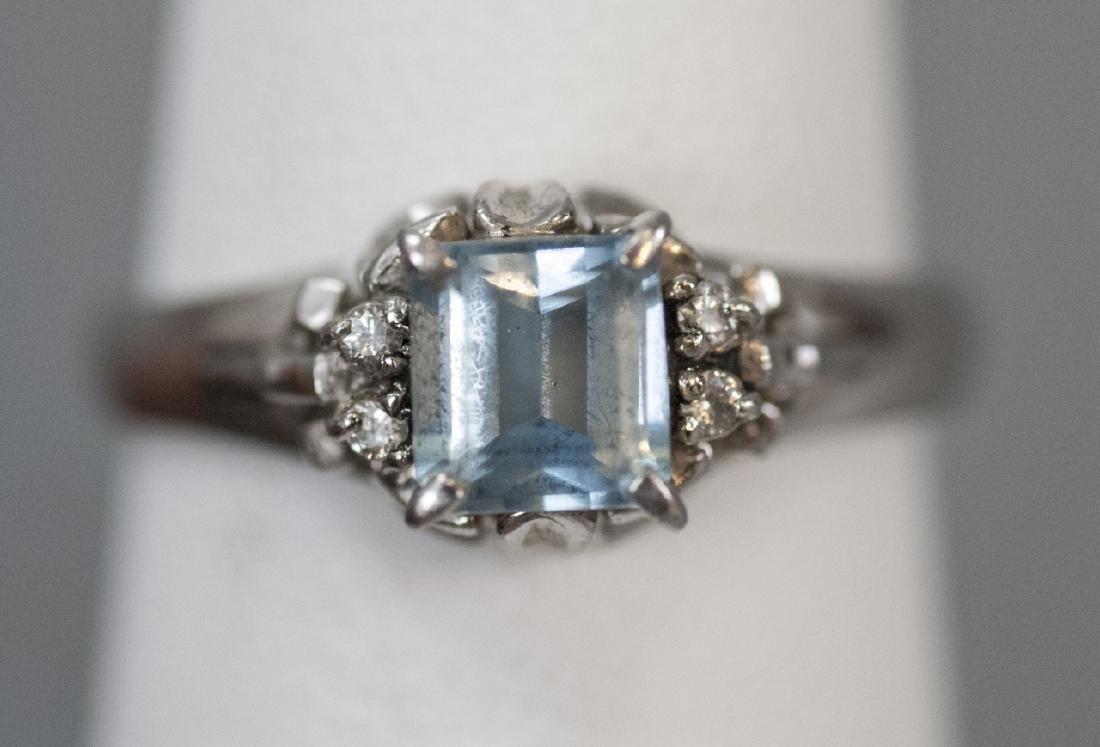 Estate Platinum Blue Topaz & Diamond Ring - 10