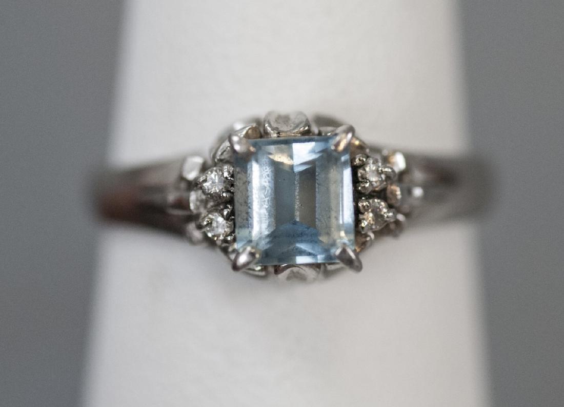 Estate Platinum Blue Topaz & Diamond Ring