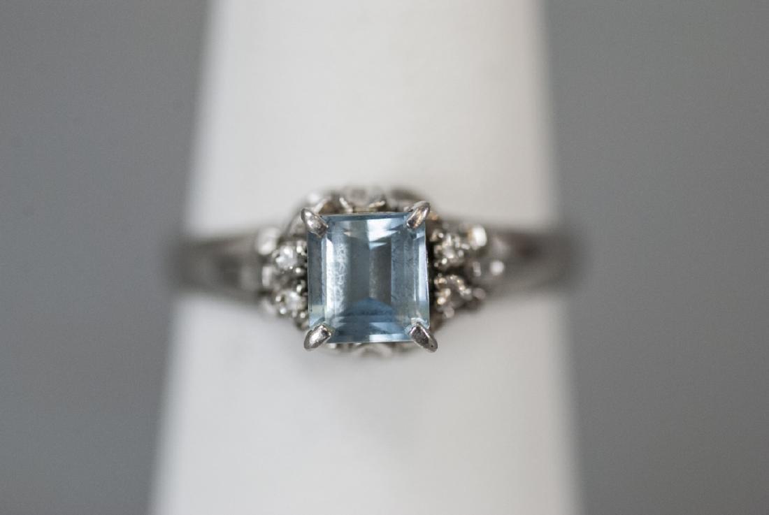 Estate Platinum Blue Topaz & Diamond Ring - 2