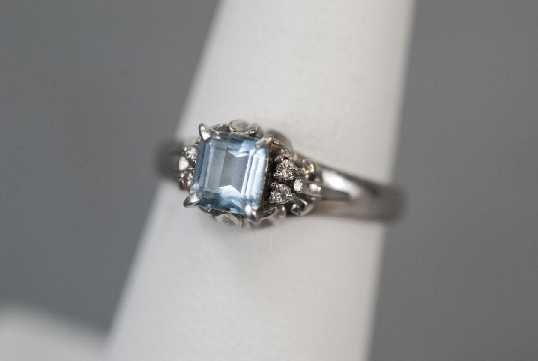 Estate Platinum Blue Topaz & Diamond Ring - 3