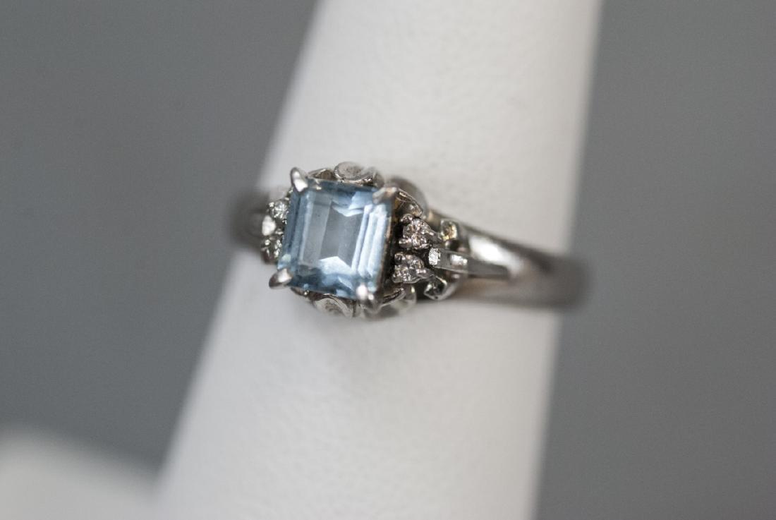 Estate Platinum Blue Topaz & Diamond Ring - 4
