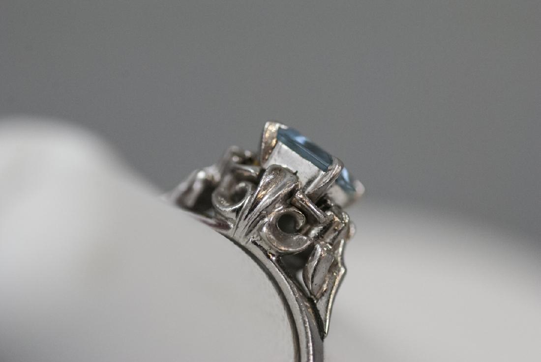 Estate Platinum Blue Topaz & Diamond Ring - 5