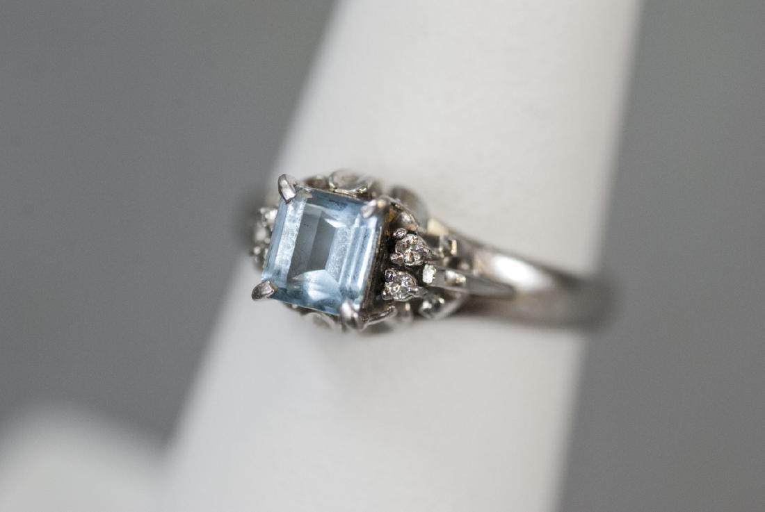 Estate Platinum Blue Topaz & Diamond Ring - 8