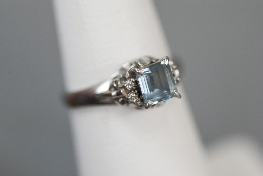 Estate Platinum Blue Topaz & Diamond Ring - 9