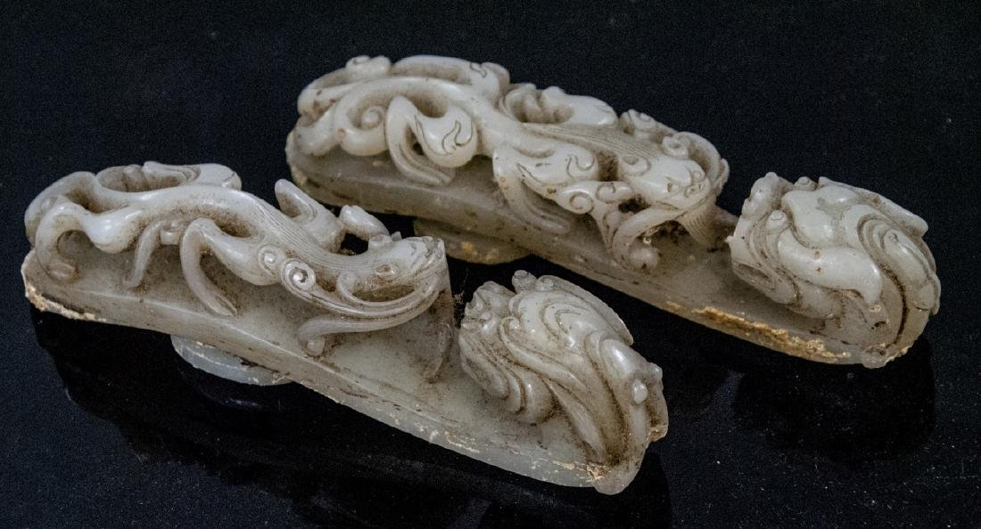 Pair Antique Chinese Jade Dragon Buckles w Tray