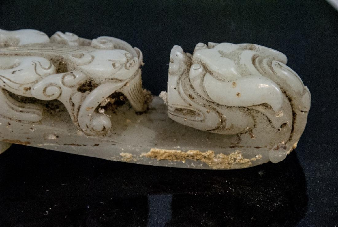 Pair Antique Chinese Jade Dragon Buckles w Tray - 3