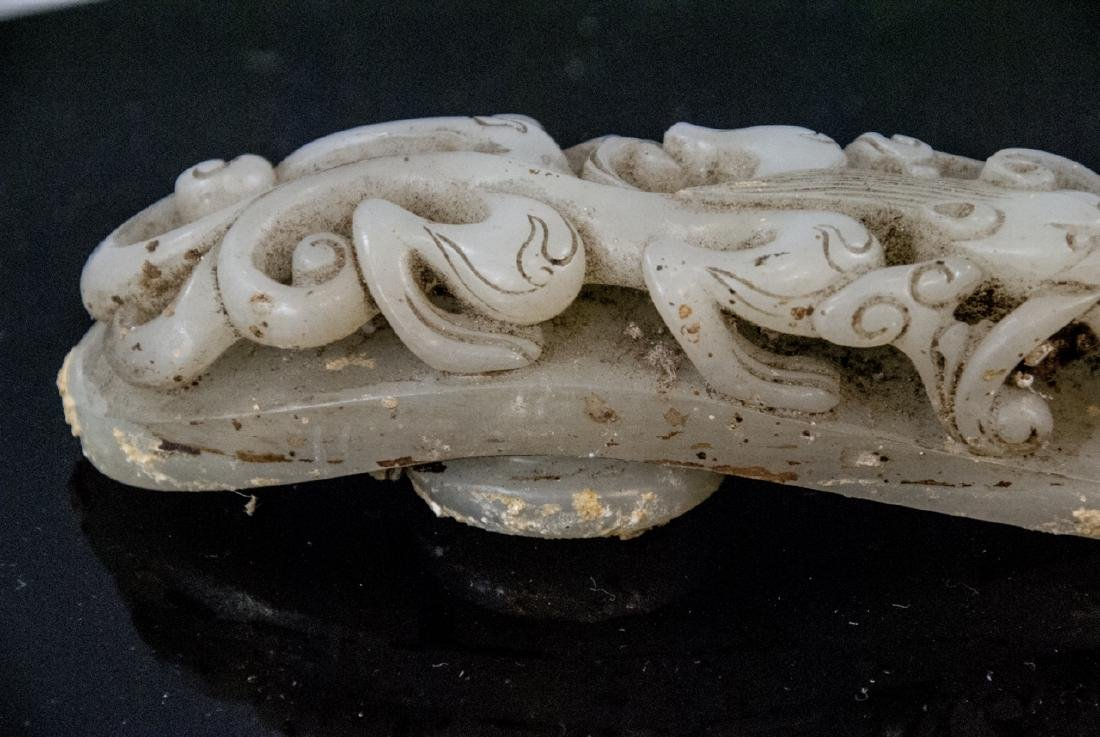 Pair Antique Chinese Jade Dragon Buckles w Tray - 4