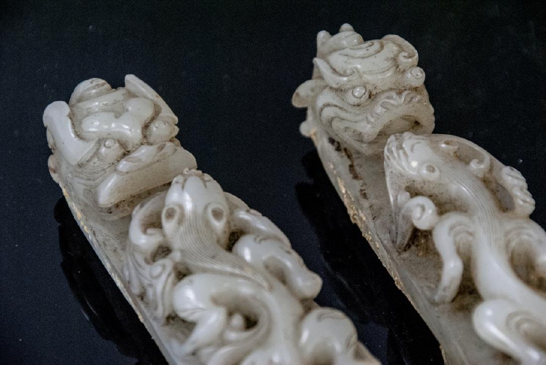 Pair Antique Chinese Jade Dragon Buckles w Tray - 6