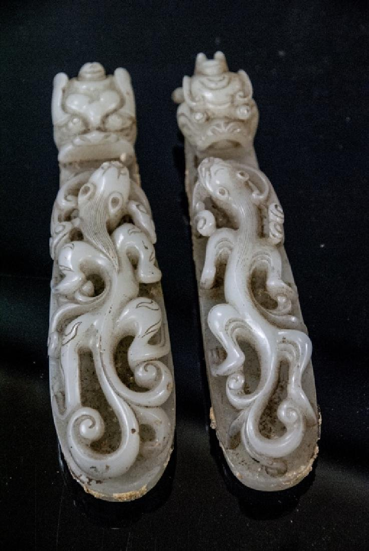 Pair Antique Chinese Jade Dragon Buckles w Tray - 7