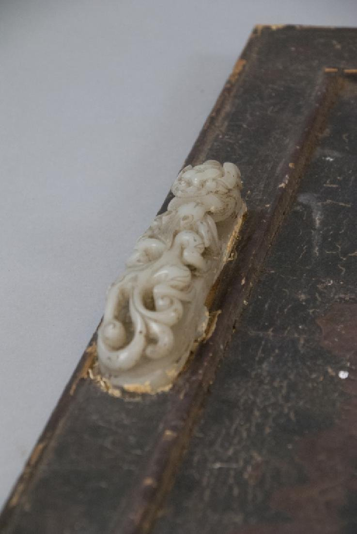 Pair Antique Chinese Jade Dragon Buckles w Tray - 9